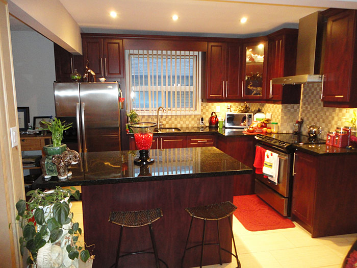 Red mahogany kitchen cabinets best free home design - Red kitchen cabinets ...